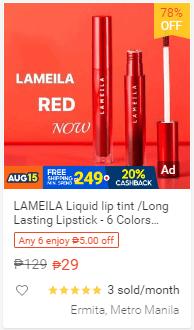 LAMEILA Liquid lip tint Long Lasting Lipstick - 6 Colors