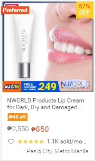 NWORLD Products Lip Cream for Dark, Dry and Damaged Lips (Lip Tint for Men and Women) 8ml